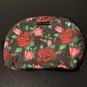 Betsey Johnson Rose Sequined Zippered Cosmetic Bag
